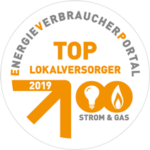 Plakette Top-Lokalversorger 2019 Strom & Gas